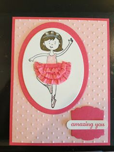 Thursday, September 2013 Stamp It Sweet: Sweet Ballerina Stylin' Girl use the Multipurpose Adhesive Sheets to attach the ribbons! September 2013, Sweet September, Dance Teacher Gifts, Little Ballerina, Kids Cards, Stampin Up, Card Making, Sweet Sweet, Ribbons