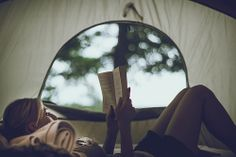 Camping. And reading in the early evening.