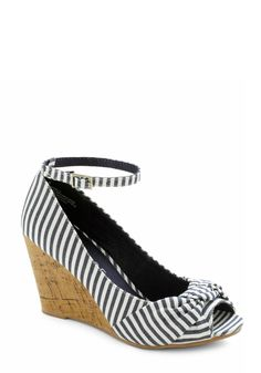 Work from Beach Home Wedge - Blue, White, Stripes, Nautical, Wedge, Peep Toe, Daytime Party, Mid