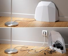 Cache prise design PowerBlock  http://www.homelisty.com/cacher-ranger-cables-fils-prises-electriques/