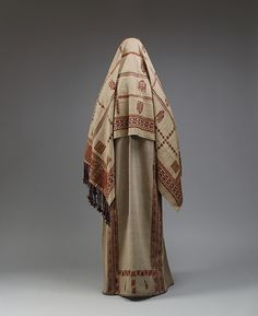 Palestinian woman's ensemble, embroidered linen, cotton, 19th c