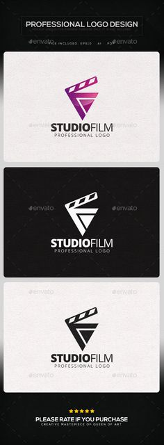 Studio Film Logo Template: Object Logo Design Template created by Queen_Of_Art. Film Logo, Studio Logo, Logo Design Studio, Film Studio, Logo Design Template, Logo Templates, Triangle Logo, Photography Logo Design, Initials Logo