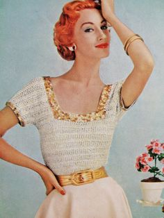 INSTANT PDF PATTERN 1950s Vintage Crochet Pattern Lovely Square Neck Sweater Top Rockabilly 50s Glam Fashion on Etsy, $3.00