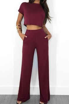 d0903bb1ed Shyfull Trendy O Neck Wine Red Two-piece Pants Set Crop Top Dress, Loose