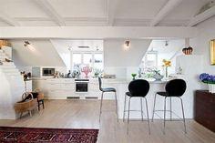 Swedish Kitchen Design Ideas with Modern Bar Stools: Black Bar Stools Wooden Floor Unusual Ceiling Swedish Kitchen Design Ideas ~ dickoatts.com Kitchen Inspiration