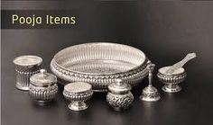 Image result for silver pooja items