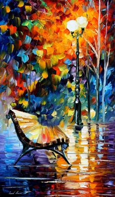 """LONELY BENCH-  PALETTE KNIFE Oil Painting On Canvas By Leonid Afremov -  Size 20"""" x 36"""""""
