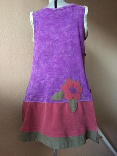 Upcycled Colorful Patchwork Tunic Tank Dress Boho Gypsy