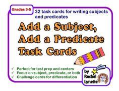Add a Subject, Add a Predicate Task Cards: 32 Sentence-Writing Cards Teaching Grammar, Teaching Writing, Teaching Ideas, Sentence Writing, Writing Words, Word Study, Word Work, Too Cool For School, School Stuff