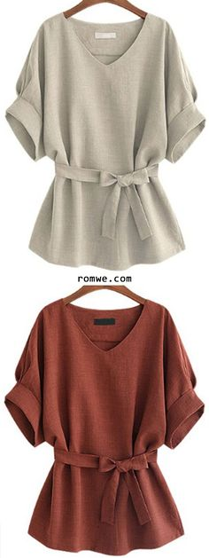 13777669ac906 V Neck Self Tie Blouse Business Casual Clothes