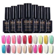Rosalind 7ml UV Gel Nail Polish Soak Off Glitter Pearl Color Gel Polish LED UV Gel Nail Polishes Lacquer Permanent Nail Gel #Affiliate