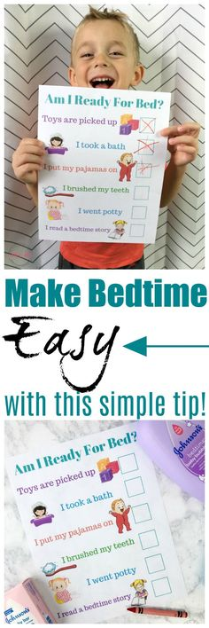 Make bedtime EASY with this simple tip and free printable bedtime routine chart!  via @musthavemom #mommymusthaves #ad @walmart #ParentingBoys