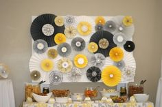 Does anyone know how to do this? :  wedding decor diy paper flower walls uplighting Paper Rosette Wall