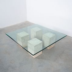 Vignelli Massive 4 Block Travertine Glass Coffee Table, circa 1970 Stone Blocks, Large Coffee Tables, Minimalist Architecture, Travertine, Glass Table, Marble, Spaces, Gallery, Furniture