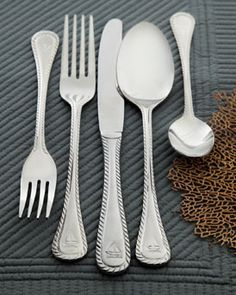wallace 'nautical' st-steel flatware 45-pc