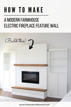 Dreaming of having a mantel and hearth but stuck in a builder grade home? No worries! Here's how to build your own modern farmhouse electric fireplace feature wall with built-in IKEA bookcases. Learn more at www. Fireplace Feature Wall, Build A Fireplace, Fireplace Built Ins, Farmhouse Fireplace, Home Fireplace, Fireplace Remodel, Modern Fireplace, Fireplace Design, Fireplace Mantels