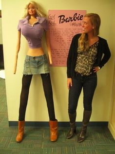 "Barbie's proportions brought to life: 5'9"" 110lbs 39"" bust, 18"" waist, 33""hips."