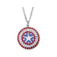 Marvel Women's Stainless Steel Captain America Shield Bling Pendant... ($10) ❤ liked on Polyvore featuring jewelry, necklaces, stainless steel jewellery, stainless steel necklace, stainless steel jewelry, pendant necklaces and stainless steel pendant necklace