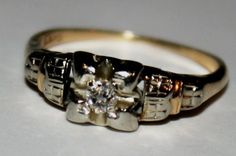 Antique  Diamond 14k Yellow Gold and White by fairytaletreasures, $250.00