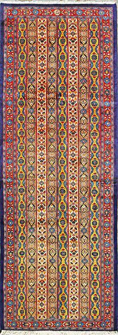 "Qum Persian Rug, Buy Handmade Qum Persian Rug 3' 7"" x 10' 0"", Authentic Persian Rug"