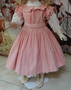 Antique Original French Doll Dress with Boots and underwear Jumeau Steiner