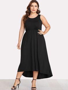 542ff3afa9c2 Plus Solid Color Dip Hem DressFor Women-romwe Šaty Nadměrné Velikosti
