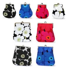 Marimekko Unikko Coin Purses Keep coinage and spare change safely contained with the poppy-patterned Marimekko Unikko Coin Purses. Cheap Designer Handbags, Designer Wallets, Replica Handbags, Coin Purses, Purses And Bags, Cheap Fashion, Womens Fashion, Fashion Tips, Marimekko Bag