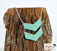 Leather Double Chevron Necklace submitted to InspirationDIY.com