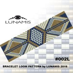 Bracelet loom patterns / square stitch made with size 11/0 Toho round beads Width: 3,8 cm / 1.5 (25 columns) Length: 16 cm / 6.2 Colors: 3  Patterns include: - Large colored numbered graph paper (and non-numbered in another files) - Bead legend (numbers and names of Toho beads colors ) - Word chart - Pattern preview  This pattern is intended for users that have experience with loom and the pattern itself does NOT include instructions on how to do this stitch. 1 JPG & 2 PDF files: (Instant…