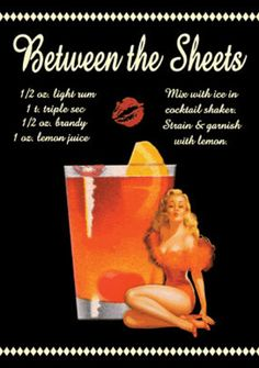Between the Sheets Drink Recipe Sexy Girl Emaille bord