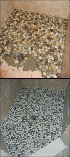 Want a refreshing new look to your bathroom?  How about this pebble shower floor idea? It's not only beautiful, it's also a low-cost flooring project!  Learn more about this bathroom floor idea and get your inspiration by viewing the album on our site.