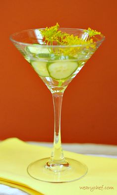 Friday Happy Hour: Cucumber Dill Martini - The Weary Chef Vinegar Cucumbers, Pickling Cucumbers, Cocktail Martini, Vodka Martini, Friday Happy Hour, Vodka Mixes, Garlic Infused Olive Oil, Pickle Vodka, Fun Cocktails