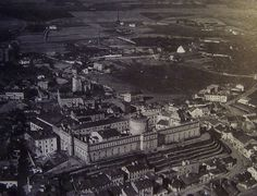 Lublin castle and the Jewish district homes around its sides.