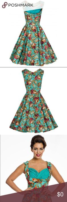 Ophelia Turquoise Print Swing Dress Size US 12 Turquoise floral swing dress is so beautiful with a sweet vintage style! Perfect for spring and wearing to tea parties! Made from a good quality cotton. Sweetheart neckline with ruched bust panel, fared skirt. Pockets in side seam. Made of 97% Cotton 3% Elastane (shell), 90% Polyester 10% Elastane (lining)  👗NWT  👠 *See size chart.  ✨Smoke Free/Pet Free Home  💄NO Trades   Reasonable offers are welcome! Notify me with any questions. Feel free…