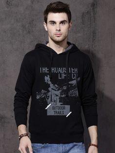Shop Roadster Men Black Printed Hooded Sweatshirt from Shoprapy ! Sweatshirts Online, Hooded Sweatshirts, Denim Jacket Men, Denim Jackets, Jean Jackets, Winter Wear For Men, Popular Mens Jeans, Ck Jeans, Mens Essentials