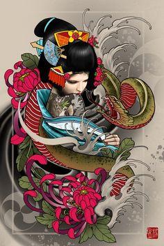 """Geisha"" Art Print by Elvin Tattoo on Artsider.com"