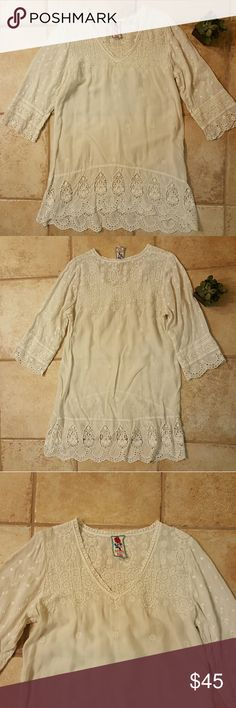 Beautiful Cream lazy beach cover up Super amazing details, cream color, in great condition. Johnny Was Dresses