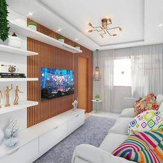 44 Salas de TV Decoradas com Capricho! Living Room Tv Unit, Home Living Room, Interior Design Living Room, Living Room Designs, Living Room Decor, Ceiling Design Living Room, Tv Wanddekor, Modern Tv Wall, Modern Apartment Design