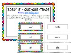 Inspired by an activity I saw in a Cooperative Learning book, here is a fun way to teach your students how bossy 'e' changes the short vowel into a long vowel.  Includes instructions for making the cards, how to play and 48 short vowel/bossy 'e' cards!  I am always open to suggestions for additional words to include.