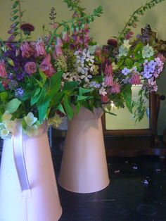 Foxgloves, aqueliga and sweet rocket in pink zinc jugs Wedding Flower Inspiration, Diy Wedding Flowers, Flower Ideas, Wedding Ideas, Red Flowers, Spring Flowers, Spring Flower Arrangements, Girls Dream, Unique Weddings