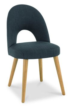 Buy a pair of Bentley Designs Oslo Oak Upholstered Dining Chairs. The stunning shade of the steel upholstered seats offset the light natural tones of the solid oak legs, to create a bold stylish piece.