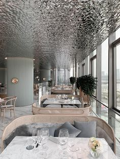 wuji studio installs reflective riverlike ceiling within 'rêver Coffee Shop Design, Cafe Design, Design Design, Open Kitchen Restaurant, Restaurant Restaurant, Decoration Restaurant, Pub Decor, Private Dining Room, Restaurant Interior Design