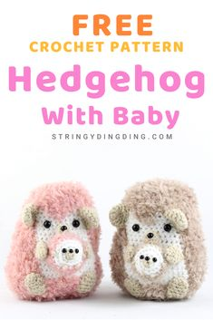 Crochet a fuzzy hedgehog family with this free amigurumi pattern! They're easy and quick to make. Visit my site to make one now! Free Hedgehog with Baby Amigurumi Crochet Pattern Caranata caranata Häkeln Crochet a fuzzy hedgehog family with this fr Crochet Patterns Amigurumi, Crochet Blanket Patterns, Crochet Toys, Crochet Stitches, Kawaii Crochet, Cute Crochet, Crochet Baby, Crochet Hedgehog, Hedgehog Baby