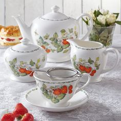 Buy English red patterned Teapot Teacup collection from Churchill China brand Queens Classic that is purely elegant and luxury. Strawberry Tea, Red Pattern, Afternoon Tea, Tea Set, Tea Time, Tea Party, Tea Cups, Tableware, Classic