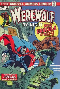 Drawing Marvel Comics Werewolf by Night Dracula, Horror Comic, Halloween book, Monster, Scary Ploog art. 1974 Marvel C - Werewolf by Night Marvel Comic Books, Comic Books Art, Comic Art, Marvel Characters, Dc Comics, Horror Comics, Silver Age Comics, Marvel Girls, Marvel Heroes
