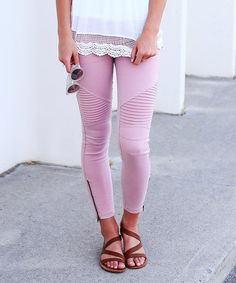Take a look at this Color Story Dusty Pink Texture-Front Zip-Leg Leggings today!