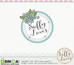 Blue+Floral+Circle+Stamp+Premade+Custom+photography+by+saffyloves,+£9.00
