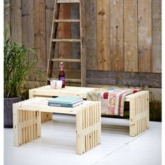 RUSTICO Plus Gartenbank Massivholz Woodinis® 218x49x45 cm