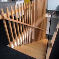 Stylecraft Stairways - nation-wide stair solutions This modern Victorian Ash stair floats off the concrete block feature wall using a hidden steel support structure. Staircase Handrail, Banisters, Railings, Basement Stairs, House Stairs, Railing Design, Staircase Design, Stairs And Doors, Metal Barn Homes