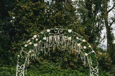 Romantic soft wedding arch - crystals, hearts and roses